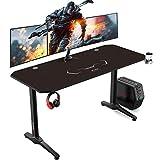 AuAg Gaming Tisch 140 cm, Groß Gaming Schreibtisch for PC Ergonomischer Gamer Tisch, Schwarz...