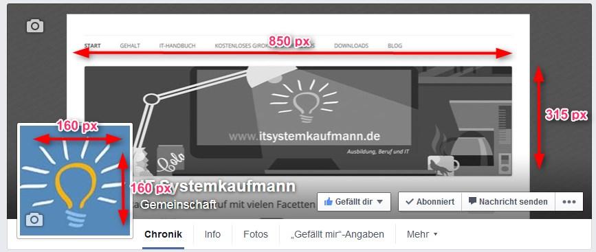 facebook maße header und profilbild