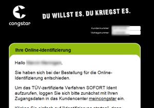 Congstar Online-Identifizierung