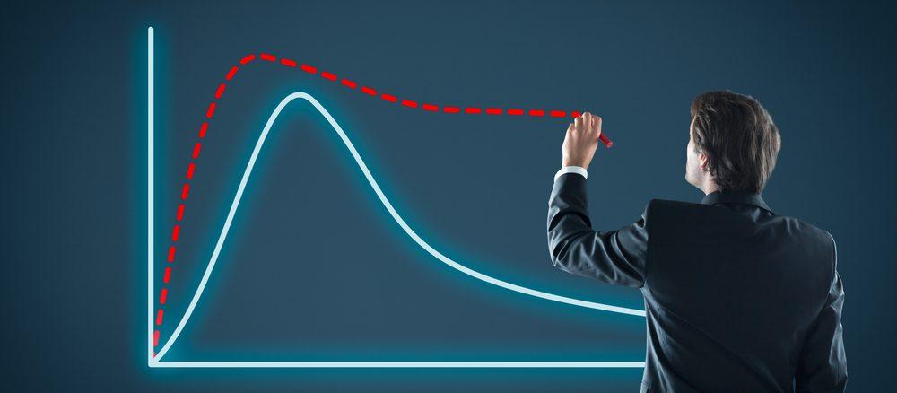 Ein Mann zeichnet einen Graphen