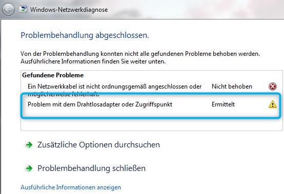 Probleme mit Drahtlosadapter oder Zugriffspunkt Screenshot