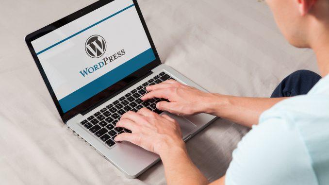 Ein junger Mann sitzt vor dem Laptop auf dem der Schriftzug Wordpress zu sehen ist