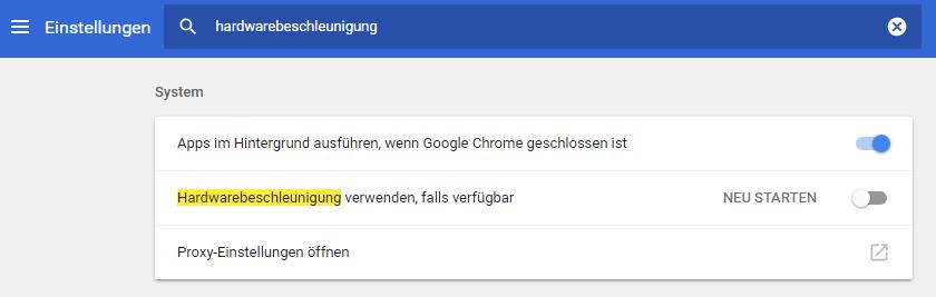 Hardwarebeschleunigung in Chrome deaktivieren