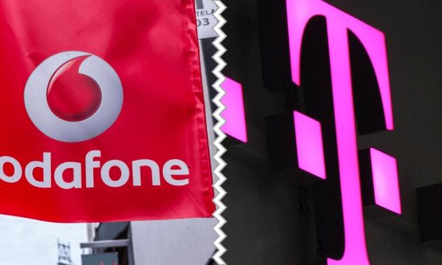 Vodafone und Telekom Logos auf einem Bild getrennt durch einen weißen Strich