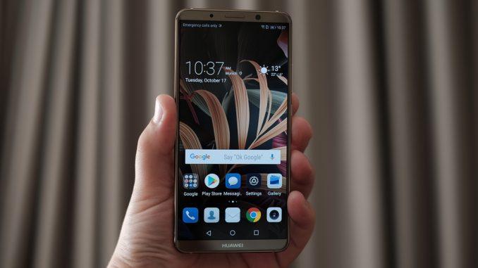 Jemand hält ein Huawei Mate 10 Smartphone in der Hand