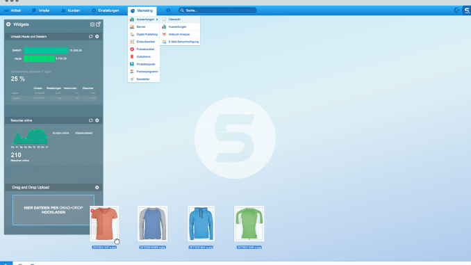 Shopware Screenshot vom Backend