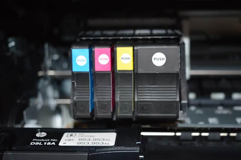 HP Druckerpatronen in der Nahansicht