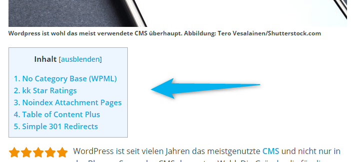 Table of Contents Plus Plugin für WordPress