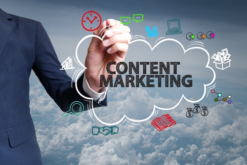 Content-Marketing-Schriftzug in einer Wolke bzw. Cloud