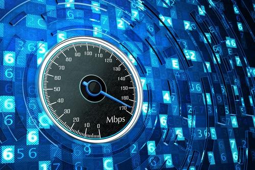 Breitband Geschwindigkeit als Tachometer dargestellt