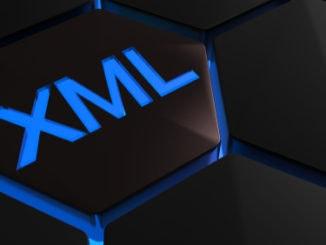 XML in blauer Schriftfarbe auf schwarzem Hintergrund