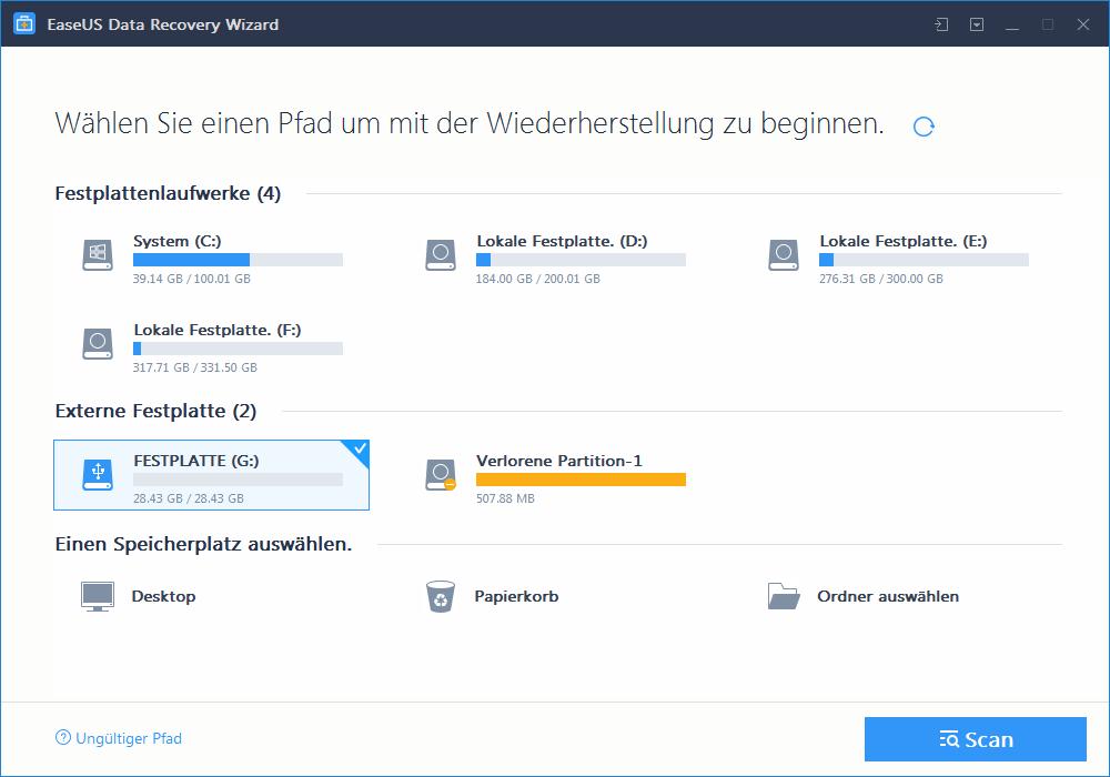 Die Datenwiederherstellung mit EaseUS Data Recovery Wizard