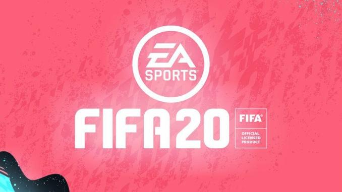 Fifa 20 Schrift EA Logo auf roten Hintergrund
