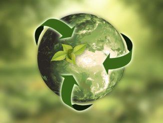 Grüner Planet auf grünem Hintergrund