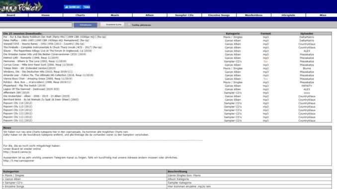 Screenshot der Website CannaPower