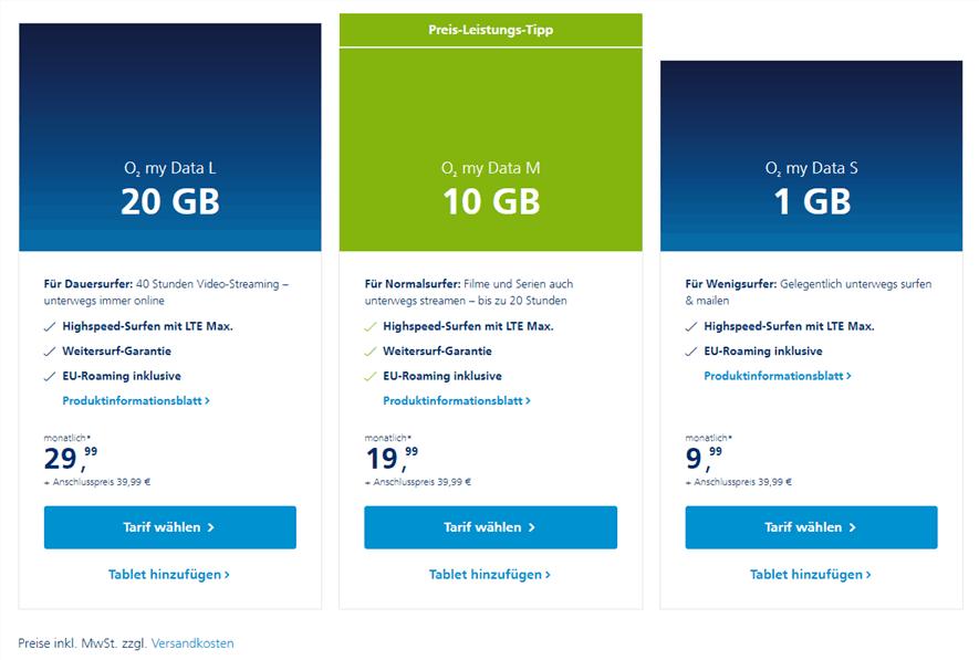 Screenshot aller verfügbaren Prepaid-Tarife (Stand: November 2019).