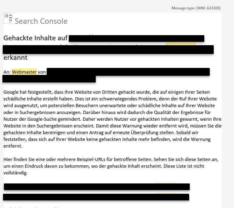 Gehackte Inhalte in der Search Console