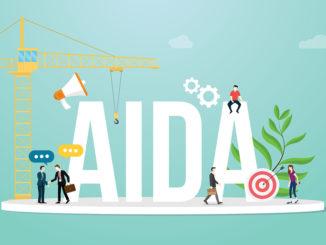 Aida Aufmerksamkeit Interesse Wunsch Aktion Verkaufstrichter Marketing Geschäftskonzept mit Team-Menschen und großes Wort - Vektor-Illustration
