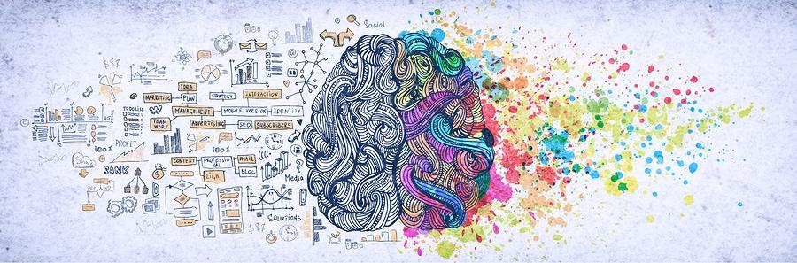 Linkes rechtes Konzept des menschlichen Gehirns, strukturierte Illustration. Kreativer linker und rechter Teil des Konzeptes des menschlichen Gehirns, der emotionalen und logischen Teile mit sozialer und Geschäftsgekritzelillustration der linken Seite und Kunstfarbe spritzt von der rechten Seite.
