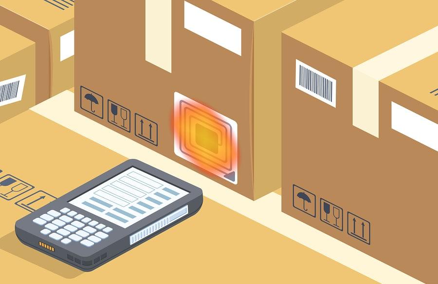 Moderner Barcodescanner des Vektors liest Kasten auf Lagerung. Zeitgemäße RFID-Technologie für Lager mit Radiowellen. Cartoon elektronisches Gerät für den Versand, Verkauf und Vertrieb. Business-Hintergrund.