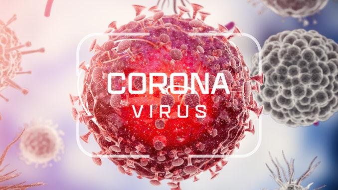 Corona-Virus. Viruszellen oder Bakterienmoleküle. Grippe, Ansicht eines Virus unter dem Mikroskop, Infektionskrankheit. Keime, Bakterien, zellinfizierter Organismus. Virus H1N1, Schweinegrippe. 3D-Rendering.