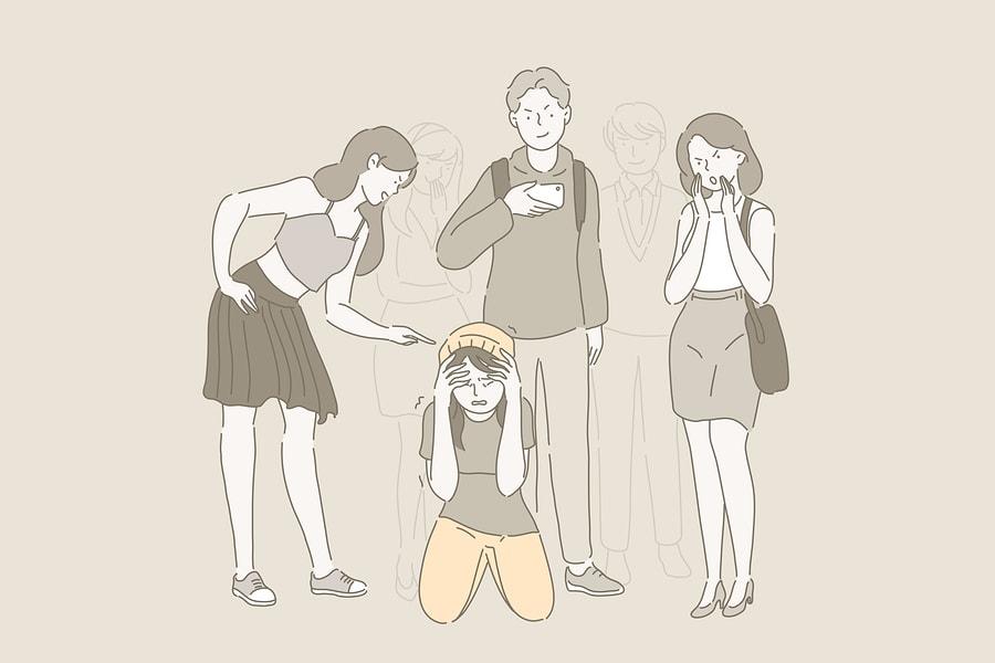 Drei Personen mobben eine Einzelperson