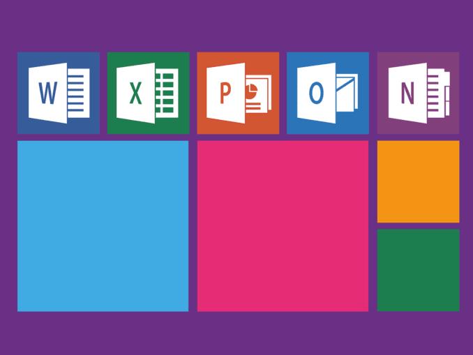 Die Symbole aller Microsoft Office Programme auf violettem Hintergrund.