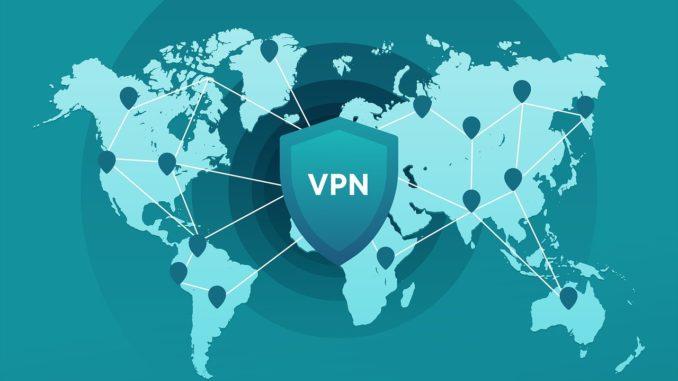 VPN Logo liegt auf Weltkarte